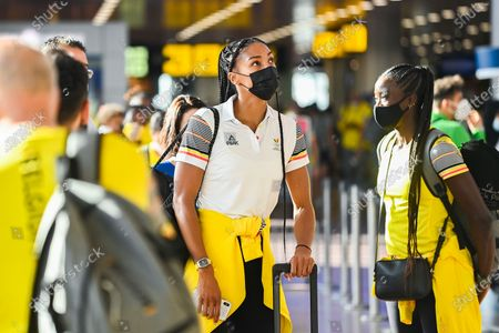 Belgian Nafissatou Nafi Thiam and Belgian Anne Zagre pictured at the departure of athletes of Team Belgium to the Tokyo 2020 Olympic Games, Saturday 17 July 2021, at the Brussels Airport in Zaventem.