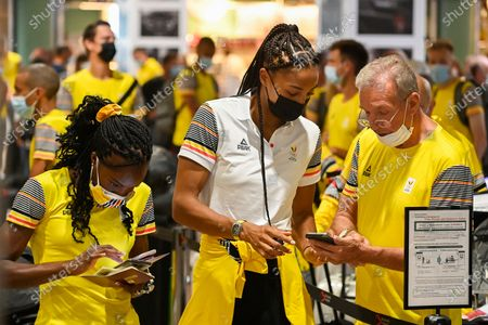 Belgian Cynthia Bolingo Mbongo, Belgian Nafissatou Nafi Thiam and Belgian athletics coach Roger Lespagnard pictured during pictured at the departure of athletes of Team Belgium to the Tokyo 2020 Olympic Games, Saturday 17 July 2021, at the Brussels Airport in Zaventem.