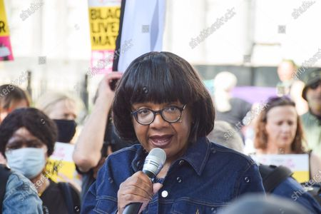 Labour MP, Diane Abbott speaking during the anti-racism protest. Demonstrators held speeches and took the knee outside Downing Street in solidarity with England football players; Marcus Rashford, Bukayo Saka and Jadon Sancho, following the online racist abuse the trio received after the Euro 2020 final between England and Italy.