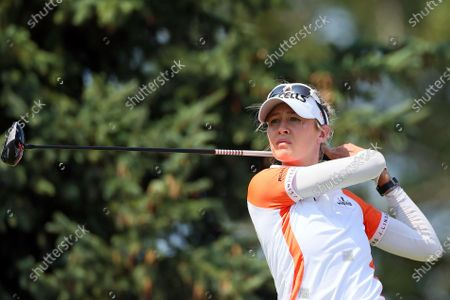 Nelly Korda of the United States hits from the 14th tee during the final round of the Dow Great Lakes Bay Invitational at Midland Country Club in Midland, Michigan, on Saturday, July 17, 2021.