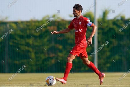 Jesus Navas of Sevilla in action during a pre-season friendly match between Sevilla CF and Coventry City at Pinatar Arena on July 17, 2021 in Murcia, Spain.