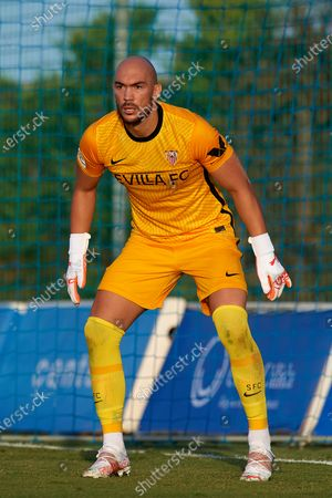 Marko Dmitrovic of Sevilla in action during the pre-season friendly match between Sevilla CF and Coventry City at Pinatar Arena on July 17, 2021 in Murcia, Spain.