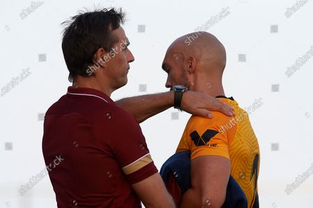 Julen Lopetegui head coach of Sevilla and Marko Dmitrovic after the pre-season friendly match between Sevilla CF and Coventry City at Pinatar Arena on July 17, 2021 in Murcia, Spain.