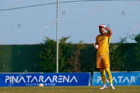 Marko Dmitrovic of Sevilla looks during the pre-season friendly match between Sevilla CF and Coventry City at Pinatar Arena on July 17, 2021 in Murcia, Spain.