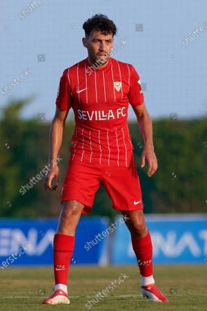 Stock Photo of Munir El Haddadi of Sevilla in action during the pre-season friendly match between Sevilla CF and Coventry City at Pinatar Arena on July 17, 2021 in Murcia, Spain.