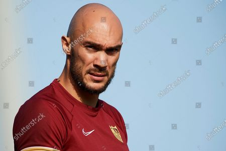 Marko Dmitrovic of Sevilla during the warm-up before the pre-season friendly match between Sevilla CF and Coventry City at Pinatar Arena on July 17, 2021 in Murcia, Spain.