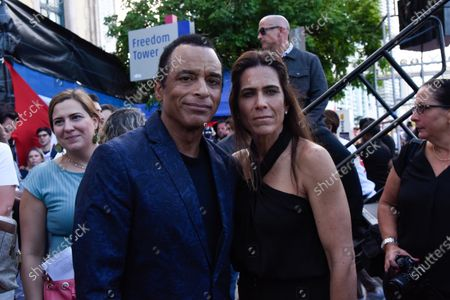 Jon Secada with his wife Maritere Vilar backstage, during the rally for democracy in Cuba. Cuban American singer, songwriter, actor and Miami Dade College alumni Canela leads the effort with international artists and activists in supporting the freedom of the Cuban people in Cuba. July 17, 2021 in Miami