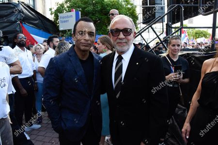 Jon Secada, left, Emilio Estefan backstage during the rally for democracy in Cuba. Cuban American singer, songwriter, actor and Miami Dade College alumni Canela leads the effort with international artists and activists in supporting the freedom of the Cuban people in Cuba. July 17, 2021 in Miami