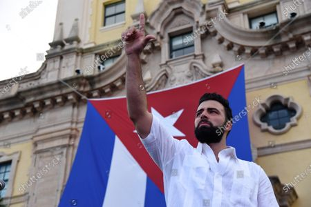 Jencarlos Canela speaks on stage during the rally for democracy in Cuba. Cuban American singer, songwriter, actor and Miami Dade College alumni Canela leads the effort with international artists and activists in supporting the freedom of the Cuban people in Cuba. July 17, 2021 in Miami