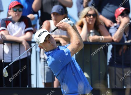 United States' Kevin Streelman tees off the 3rd during the final round of the British Open Golf Championship at Royal St George's golf course Sandwich, England