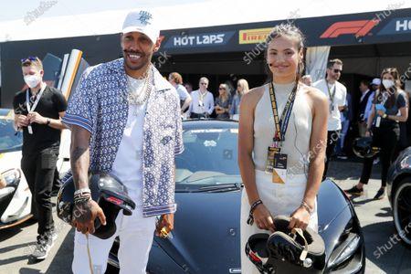 Pierre-Emerick Aubameyang and Emma Raducanu during the 2021 Formula One British Grand Prix
