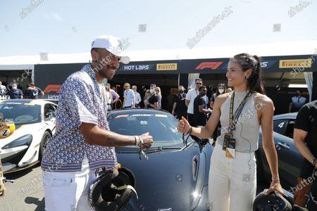 Stock Picture of Pierre-Emerick Aubameyang and Emma Raducanu during the 2021 Formula One British Grand Prix
