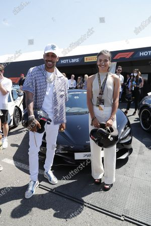 Stock Photo of Pierre-Emerick Aubameyang and Emma Raducanu during the 2021 Formula One British Grand Prix
