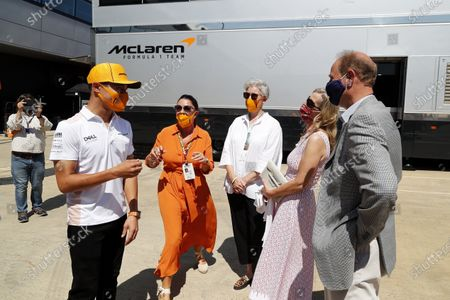 Stock Image of Prince Edward, Earl of Wessex and Sophie, Countess of Wessex with Lando Norris, McLaren (L) for the Duke of Edinburgh's Award  during the 2021 Formula One British Grand Prix