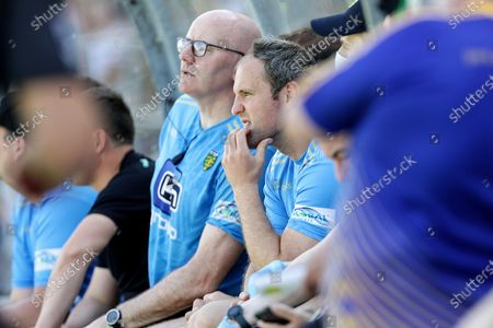 Stock Picture of Donegal vs Tyrone. Donegal's Michael Murphy watches the game from the bench after receiving a red card