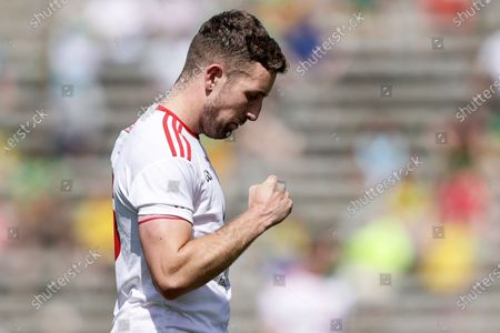 Donegal vs Tyrone. Tyrone's Michael O'Neill celebrates after the game