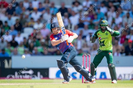 Stock Image of England's Jonathan Bairstow hits out against Pakistan.