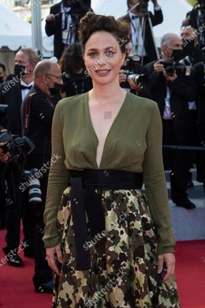 Nathalie Pechalat poses for photographers upon arrival at the awards ceremony and premiere of the closing film 'OSS 117: From Africa with Love' at the 74th international film festival, Cannes, southern France