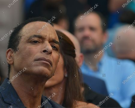 Stock Image of Jon Secada attends the Rally For Democracy In Cuba showing support for Cubans demonstrating against their government, at Miami Dade College's Freedom Tower in Miami, on July 17, 2021.