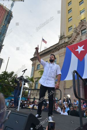 Jencarlos Canela speaks onstage during a Rally For Democracy In Cuba showing support for Cubans demonstrating against their government, at Miami Dade College's Freedom Tower in Miami, on July 17, 2021.