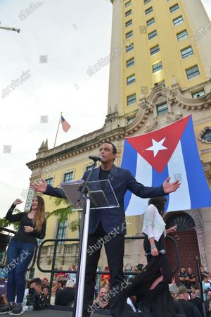 Stock Picture of Jon Secada speaks onstage during the Rally For Democracy In Cuba showing support for Cubans demonstrating against their government, at Miami Dade College's Freedom Tower in Miami, on July 17, 2021.