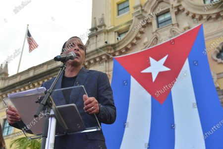 Jon Secada speaks onstage during the Rally For Democracy In Cuba showing support for Cubans demonstrating against their government, at Miami Dade College's Freedom Tower in Miami, on July 17, 2021.