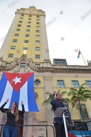 Editorial image of Cuban community demonstration, Miami, Florida, USA - 17 Jul 2021