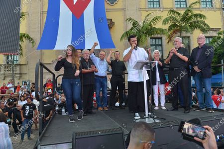 Marcell Felipe, Jencarlos Canela, Silvia Iriando and Dr. Orlando Guitierrezonstage during a Rally For Democracy In Cuba showing support for Cubans demonstrating against their government, at Miami Dade College's Freedom Tower in Miami, on July 17, 2021.