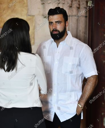 Stock Image of Jencarlos Canela attends a Rally For Democracy In Cuba showing support for Cubans demonstrating against their government, at Miami Dade College's Freedom Tower in Miami, on July 17, 2021.