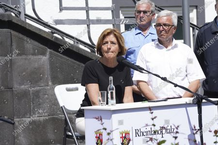 Flood disaster in Rhineland-Palatinate: Prime Minister Malu Dreyer during a press statement at the town hall in Adenau after a visit to the Eiffel Village Schuld, which was severely hit by the underweather disaster