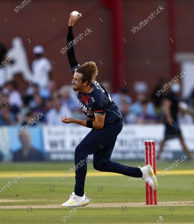 Stock Photo of Matt Quinn bowls for Kent during Kent Spitfires vs Sussex Sharks, Vitality Blast T20 Cricket at The Spitfire Ground on 18th July 2021