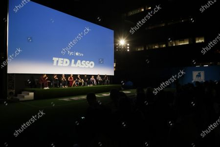 """Michael Yo, Bill Lawrence, Co-Creator/Executive Producer, Jason Sudeikis, Hannah Waddingham, Brendan Hunt, Brett Goldstein, Juno Temple, Jeremy Swift and Cristo Fernandez attend the """"Ted Lasso"""" season two special FYC screening at the Pacific Design Center. The second season of """"Ted Lasso"""" will make its global debut on Apple TV+ on Friday, July 23."""