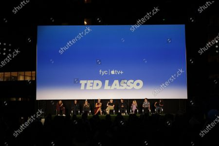 """Stock Photo of : Michael Yo, Bill Lawrence, Co-Creator/Executive Producer, Jason Sudeikis, Hannah Waddingham, Brendan Hunt, Brett Goldstein, Juno Temple, Jeremy Swift and Cristo Fernandez attend the """"Ted Lasso"""" season two special FYC screening at the Pacific Design Center. The second season of """"Ted Lasso"""" will make its global debut on Apple TV+ on Friday, July 23."""