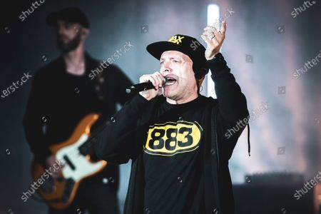 """The Italian pop singer Max Pezzali performing live on stage at the Stupinigi hunting mansion for his """"Max 90"""" Italian tour."""