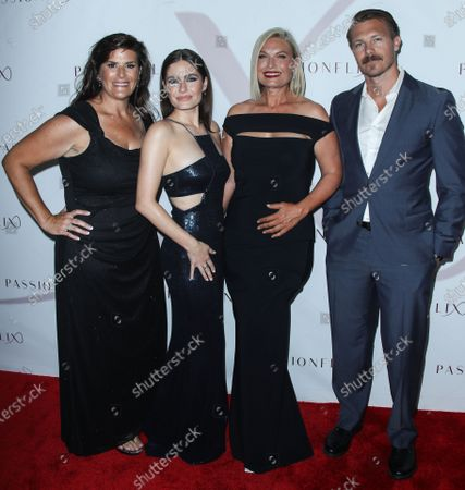 Author Kristy Bromberg, actress Olivia Applegate, South African filmmaker/CEO and Founder of Passionflix Tosca Musk and actor Michael Roark arrive at the Los Angeles Premiere Of Passionflix's Series 'Driven' Season 2 held at AMC Santa Monica 7
