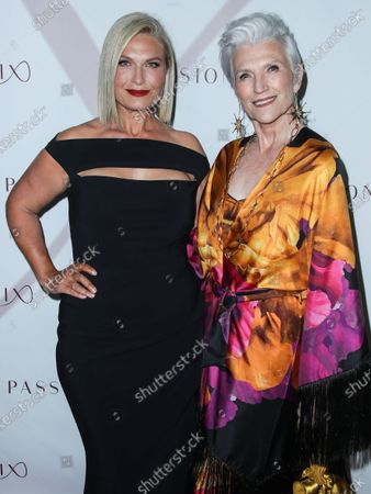 South African filmmaker/CEO and Founder of Passionflix Tosca Musk and mother/Canadian-South African model Maye Musk arrive at the Los Angeles Premiere Of Passionflix's Series 'Driven' Season 2 held at AMC Santa Monica 7