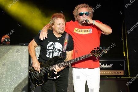Michael Anthony and Sammy Hagar perform with The Circle at RiverEdge Park in Aurora, Ill