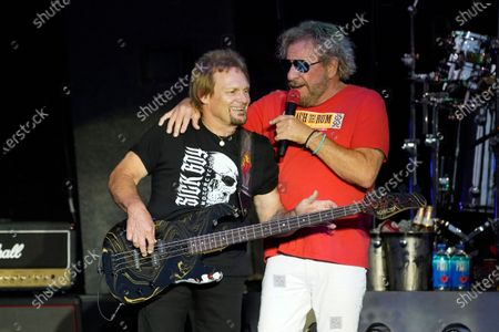Stock Image of Michael Anthony and Sammy Hagar perform with The Circle at RiverEdge Park in Aurora, Ill