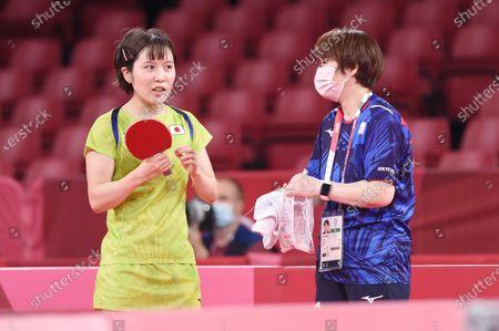 Miu Hirano (JPN),Mika Baba (JPN) - Table Tennis : Official training at Tokyo Metropolitan Gymnasium before the Tokyo 2020 Olympic Games in Tokyo, Japan.