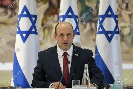 Israeli Prime Minister Naftali Bennett chairs the weekly cabinet meeting in Jerusalem