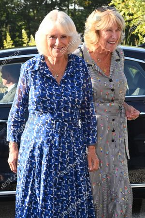 Stock Photo of Camilla Duchess of Cornwall and Annabel Elliot visit Duchy Of Cornwall Nursery, Lostwithiel. The Duke and Duchess of Cornwall will attend a reception to celebrate the launch of The Prince's Countryside Fund's Confident Rural Communities Network.