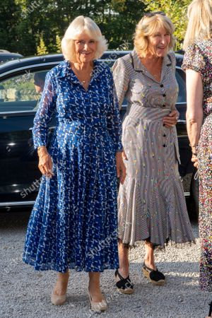 Camilla Duchess of Cornwall and her sister Annabel Elliot. Prince Charles and Camilla Duchess of Cornwall visit to Devon and Cornwall, Day 1, UK - 19 Jul 2021