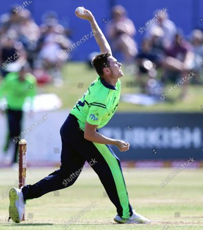 Stock Photo of Ireland vs South Africa. Ireland's Josh Little bowling