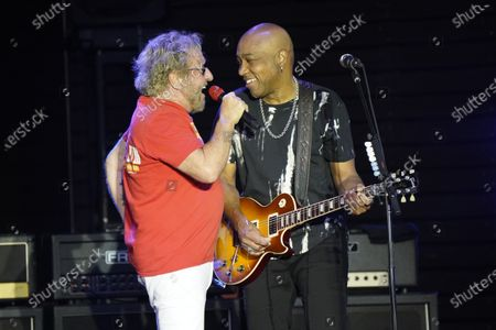 Sammy Hagar and Vic Johnson perform with The Circle at RiverEdge Park in Aurora, Ill. on