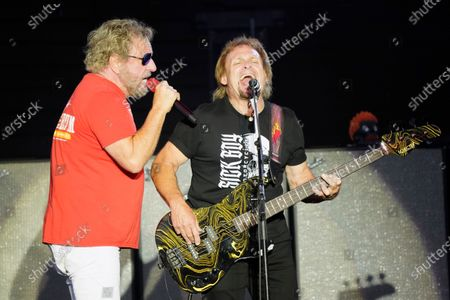 Michael Anthony and Sammy Hagar performs with The Circle at RiverEdge Park in Aurora, Ill. on