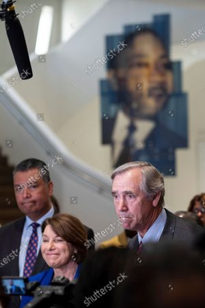 Sens. Alex Padilla, D-Calif., from left, Amy Klobuchar, D-Minn., and Jeff Merkley, D-Ore., hold a press conference following a Senate Rules Committee field hearing on voting rights at the National Center for Civil and Human Rights in Atlanta