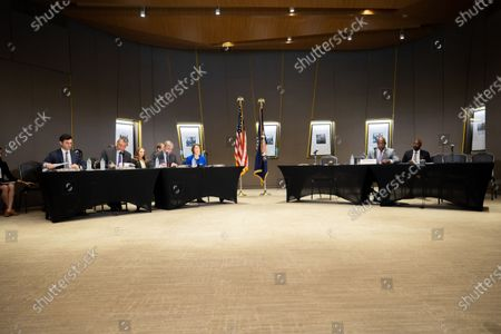 Democratic Senators listen to testimony at a field hearing at the National Center for Civil and Human Rights of the Senate Rules Committee in Atlanta, Georgia on July 19th, 2021.