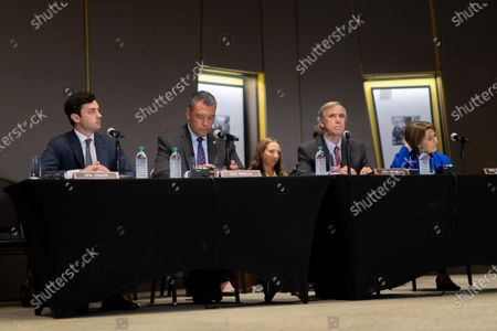 Stock Image of Democratic Senators listen to testimony at a field hearing at the National Center for Civil and Human Rights of the Senate Rules Committee in Atlanta, Georgia on July 19th, 2021.