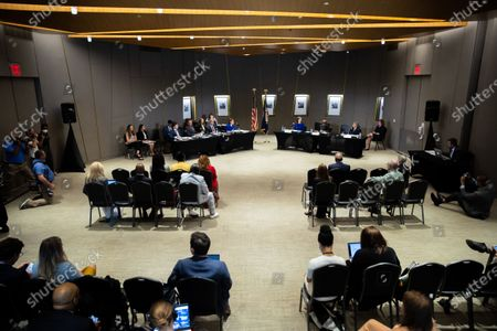 Stock Picture of Democratic Senators listen to testimony at a field hearing at the National Center for Civil and Human Rights of the Senate Rules Committee in Atlanta, Georgia on July 19th, 2021.