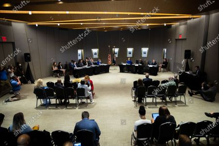 Stock Photo of Democratic Senators listen to testimony at a field hearing at the National Center for Civil and Human Rights of the Senate Rules Committee in Atlanta, Georgia on July 19th, 2021.